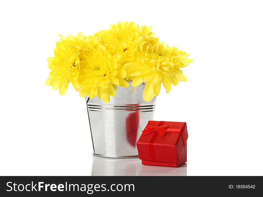Yellow chrysanthemums in a pail