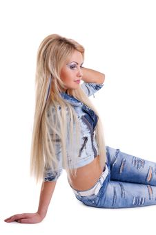 Free Beauty Sexy Blond Girl  In Jeans Jacket Stock Photos - 19360043