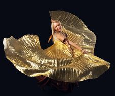 Free Beauty Blond Woman Dance With Flying Gold Wing Stock Images - 19360064