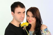 Free Lovely Romantic Couple With Flower Embracing Stock Photo - 19361260