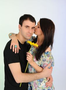 Free Lovely Romantic Couple With Flower Embracing Royalty Free Stock Photography - 19361297