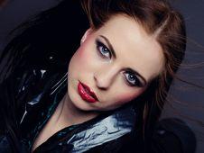 Beautiful Fashion Model With Elegant Make-up Royalty Free Stock Photography