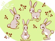 Free Collection Hares On A Green Background. Stock Photo - 19361720