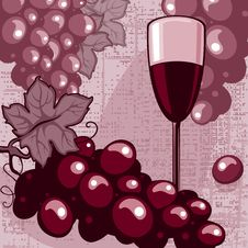 Free Bunch Of Grapes And A Glass Of Red Wine Royalty Free Stock Photo - 19361735