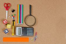 Free Various School Accessories On сorkboard Royalty Free Stock Photos - 19362658