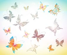 Free Drawing With Butterflies Royalty Free Stock Images - 19363099