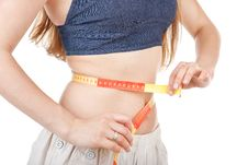 Free Girl Measuring Her Waist Stock Photo - 19363100