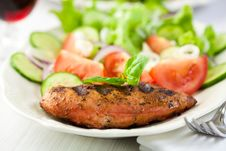 Grilled Chicken Fillet With Vegetable Salad Stock Photography