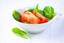 Free Fresh Tomato And Basil Leaves For Salad Stock Images - 19363254