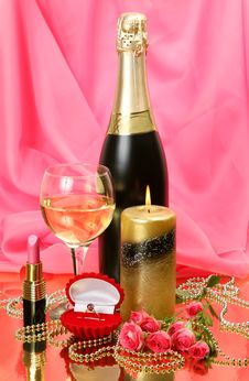 Free Champagne And Candle Stock Image - 19363791
