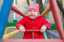 Free Pretty Little Girl On The Playground Monkey Bars. Stock Photo - 19364340
