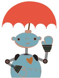 Free Cute Robot With Umbrella Attached To Head Waving Royalty Free Stock Image - 19364526