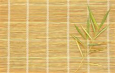 Bamboo Leaves On Bamboo Pad Stock Image