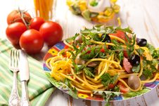 Spaghetti With Olives, Tomatoes And Herbs Royalty Free Stock Photo
