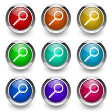 Free Search Button Set Royalty Free Stock Photos - 19365188