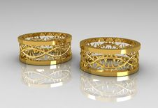 Pair Of Christ S Crown Yellow Gold Wedding Bands Royalty Free Stock Images