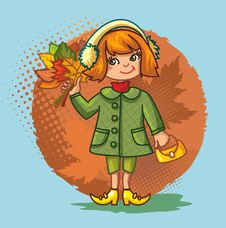 Free Cute Little Girl With A Bouquet Of Autumn Leaves Stock Photos - 19365603