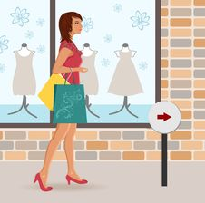 Free Modern Girl Loaded With Shopping Bags Royalty Free Stock Image - 19366786