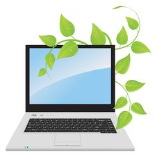 Free A Laptop With A Plant Royalty Free Stock Images - 19367269