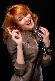 Free Portrait Of A Beautiful Singer Stock Image - 19367561