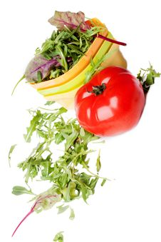 Free Fresh Tomato And A Plate Of Salad Stock Images - 19367654