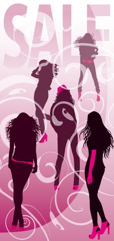 Free Background With Silhouettes Of Fashionable Girls Stock Photo - 19368600