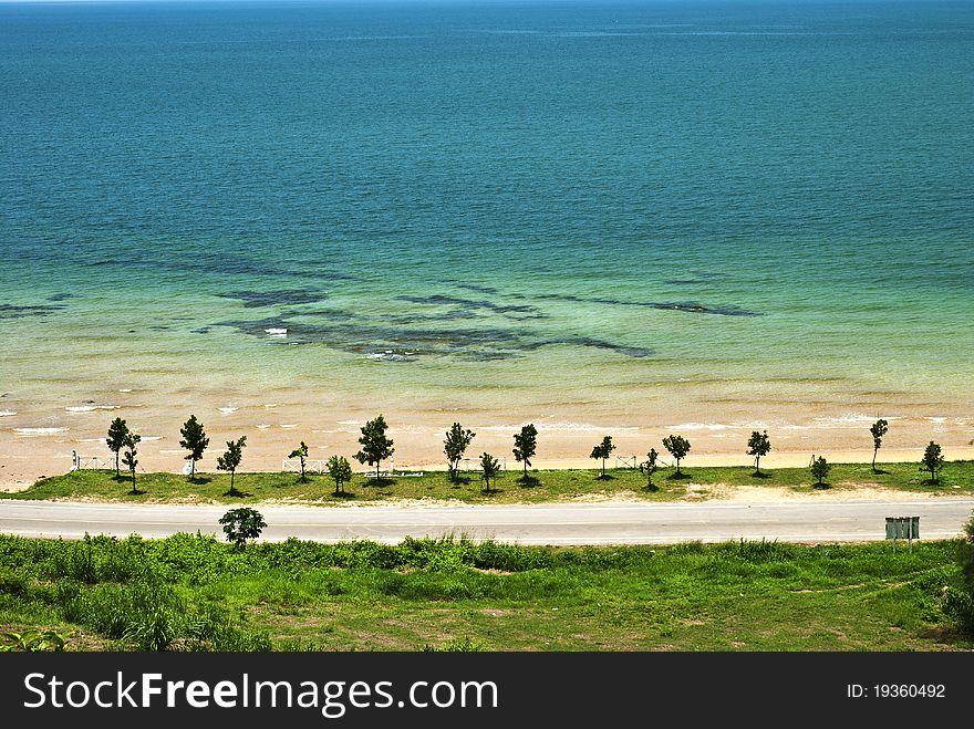 Sand beach ,sea and blue sky