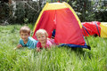 Free Young Brother And Sister In Colorful Tent Stock Photos - 19376033