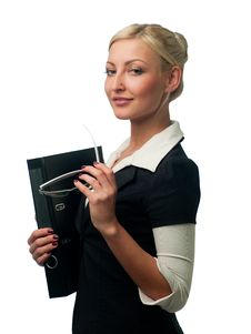 Manager With Glasses And A Folder Royalty Free Stock Photos