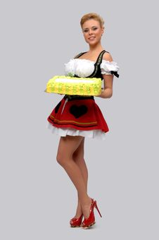 Pretty Housewife With A Big Cake Stock Photography