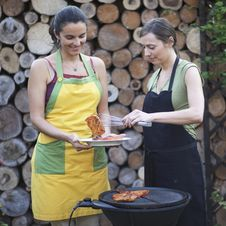 Free Barbecue Women In The Garden Having Fun Royalty Free Stock Images - 19371089