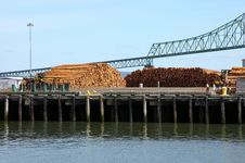 Free Pile Of Logs On Decks & The Astoria Bridge, OR. Stock Images - 19372674