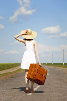 Free Lonely Girl With Suitcase At Country Road. Stock Photo - 19374000