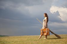 Free Young Witch At Grass Field Royalty Free Stock Photos - 19374028