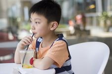 Free Chinese Boy Drinking Royalty Free Stock Image - 19374396