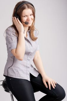 Free The Girl In Headphones Royalty Free Stock Image - 19374686