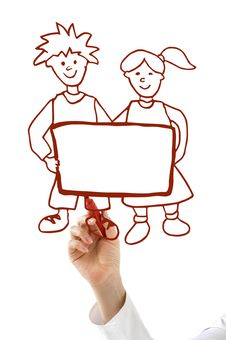 Free Hand With Red Marker Drawing Boy And Girl Stock Photo - 19374740