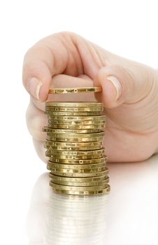 Free Stack Of Coin And Coin In Finger Stock Photography - 19374762