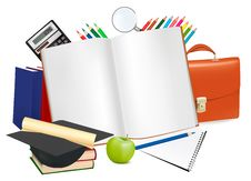 Free Back To School. Notepad With School Supplies. Stock Images - 19376374