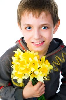 Cute Little Boy Giving Flowers Royalty Free Stock Photo