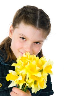 Free Cute Little Girl Giving Flowers Stock Photography - 19377852