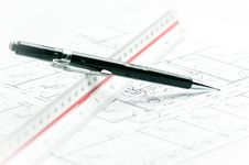 Black Pencil And Ruler On Plan Royalty Free Stock Photography
