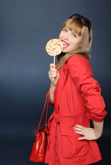 Free Pretty Girl With Lollipop Royalty Free Stock Photos - 19379088