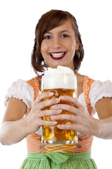 Woman With Dirndl Holds Oktoberfest Beer Stein Royalty Free Stock Photos