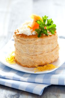 Vol Au Vent With Salmon And Cream Cheese Stock Image