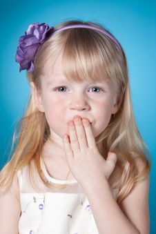 Free Cute Little Girl Send Kiss Stock Photos - 19380873