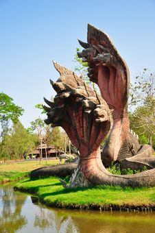 Free King Of Naga Statue Stock Photo - 19384090