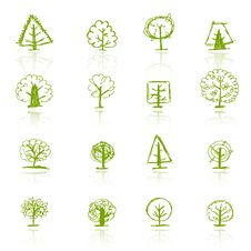 Set Of Sketch Trees For Your Design Royalty Free Stock Photo