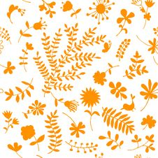 Free Floral Ornament Sketch, Seamless Background Royalty Free Stock Photos - 19384388