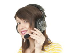 Free Girl In Headphones Stock Images - 19384684